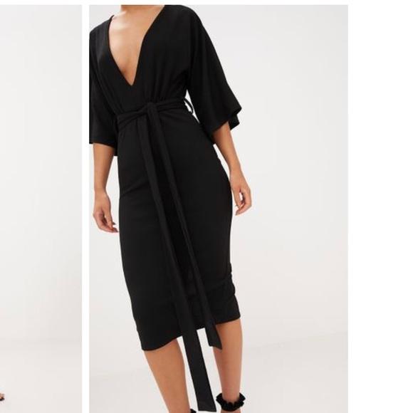 309324464434 PrettyLittleThing Dresses | Black Kimono Sleeve Tie Waist Midi Dress ...